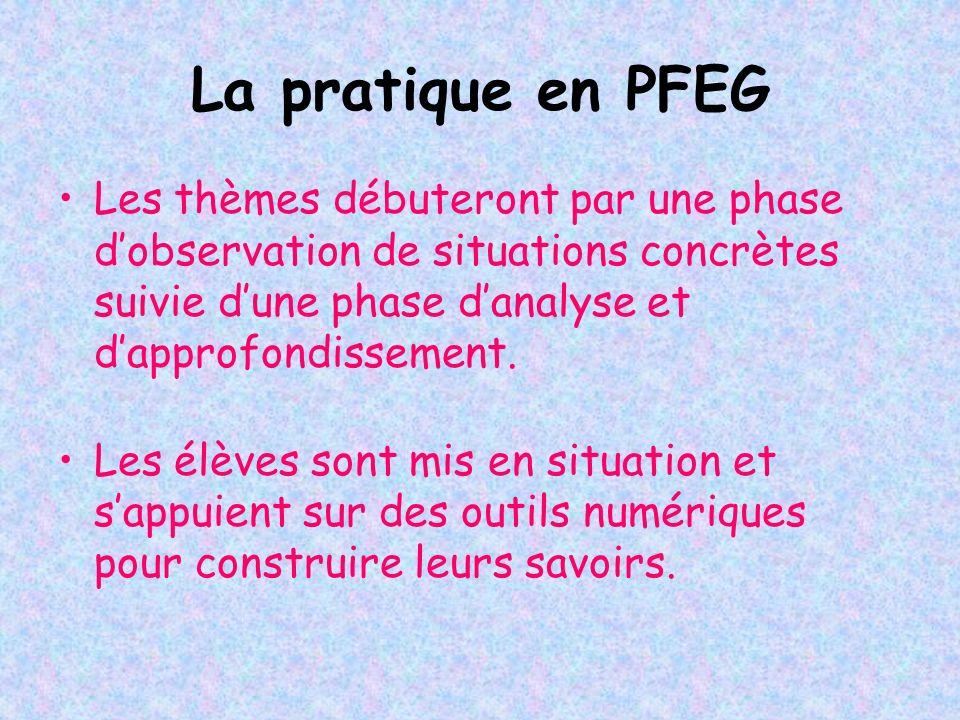 La pratique en PFEG Les thèmes débuteront par une phase d'observation de situations concrètes suivie d'une phase d'analyse et d'approfondissement.