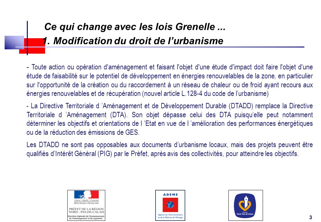 1. Modification du droit de l'urbanisme