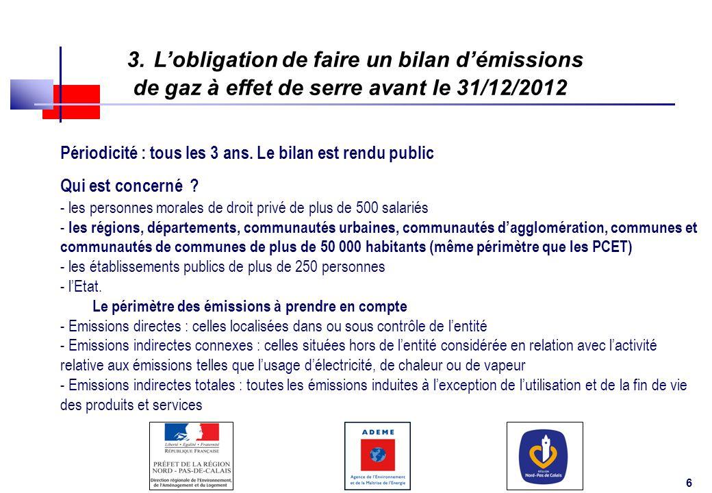 3. L'obligation de faire un bilan d'émissions