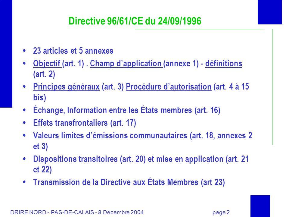 Directive 96/61/CE du 24/09/1996 23 articles et 5 annexes