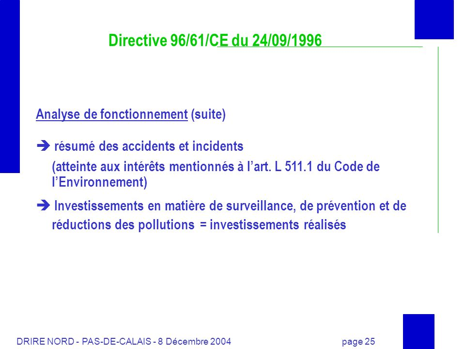Directive 96/61/CE du 24/09/1996 Analyse de fonctionnement (suite)