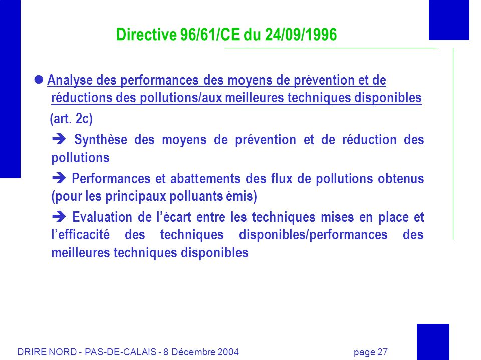 Directive 96/61/CE du 24/09/1996