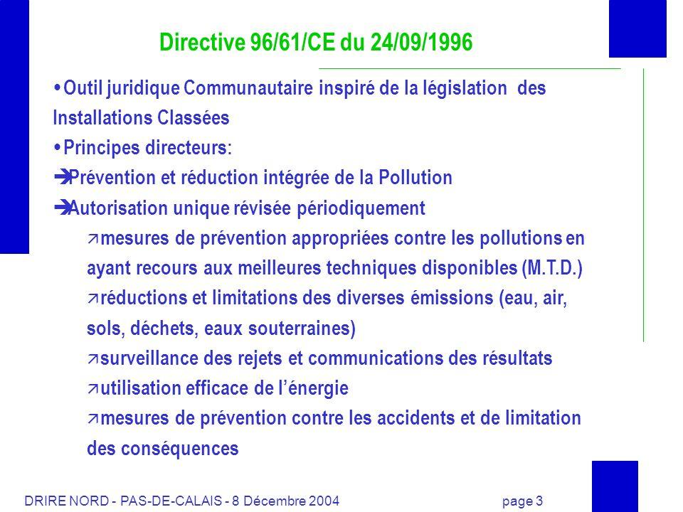 Directive 96/61/CE du 24/09/1996Outil juridique Communautaire inspiré de la législation des Installations Classées.