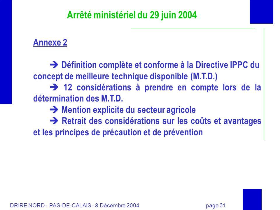 Arrêté ministériel du 29 juin 2004