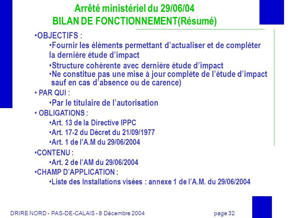 Arrêté ministériel du 29/06/04 BILAN DE FONCTIONNEMENT(Résumé)