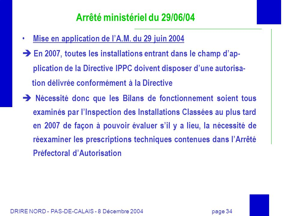Arrêté ministériel du 29/06/04