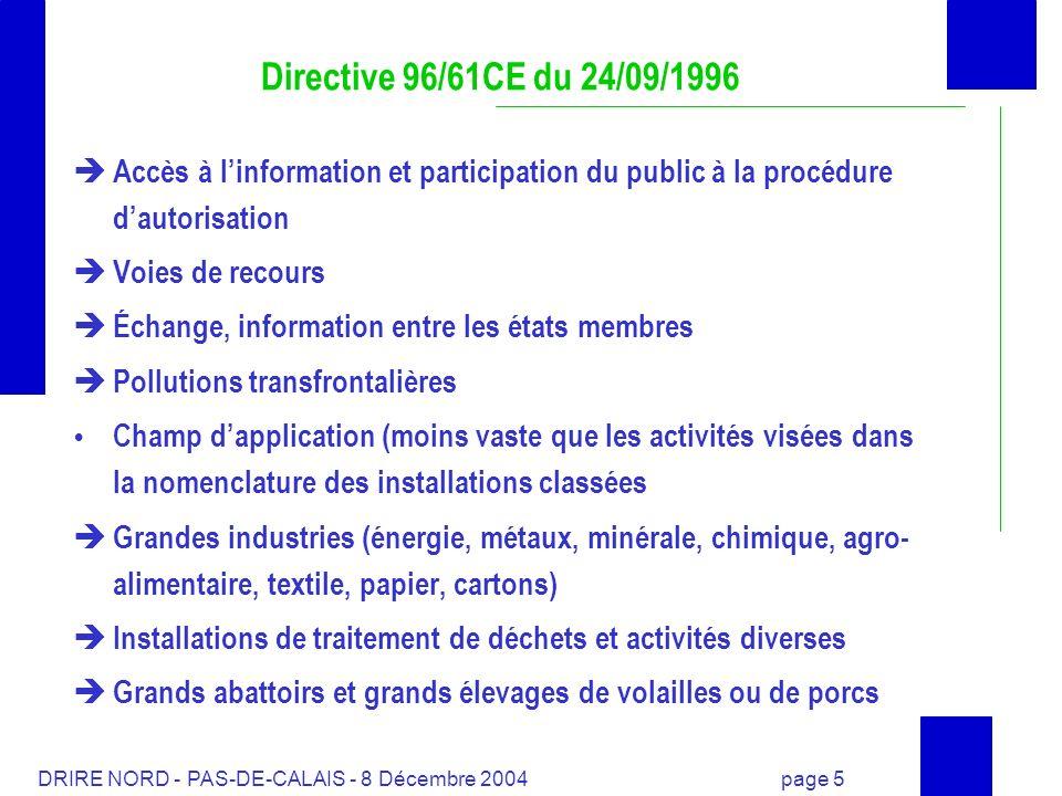 Directive 96/61CE du 24/09/1996Accès à l'information et participation du public à la procédure d'autorisation.