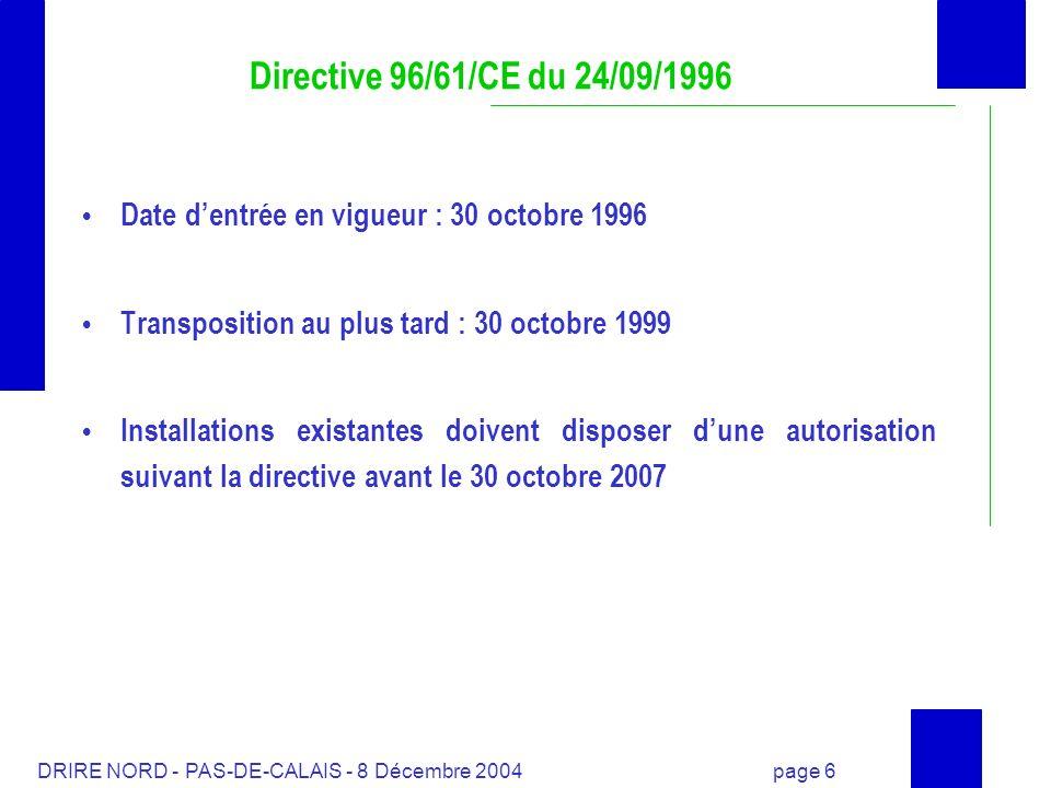 Directive 96/61/CE du 24/09/1996Date d'entrée en vigueur : 30 octobre 1996. Transposition au plus tard : 30 octobre 1999.