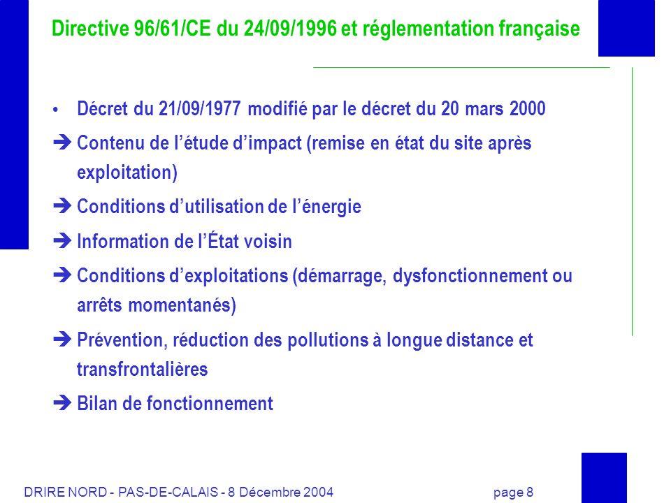 Directive 96/61/CE du 24/09/1996 et réglementation française