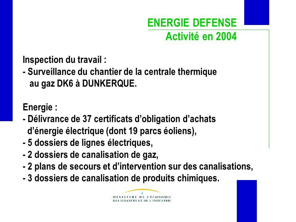 ENERGIE DEFENSE Activité en 2004 Inspection du travail :