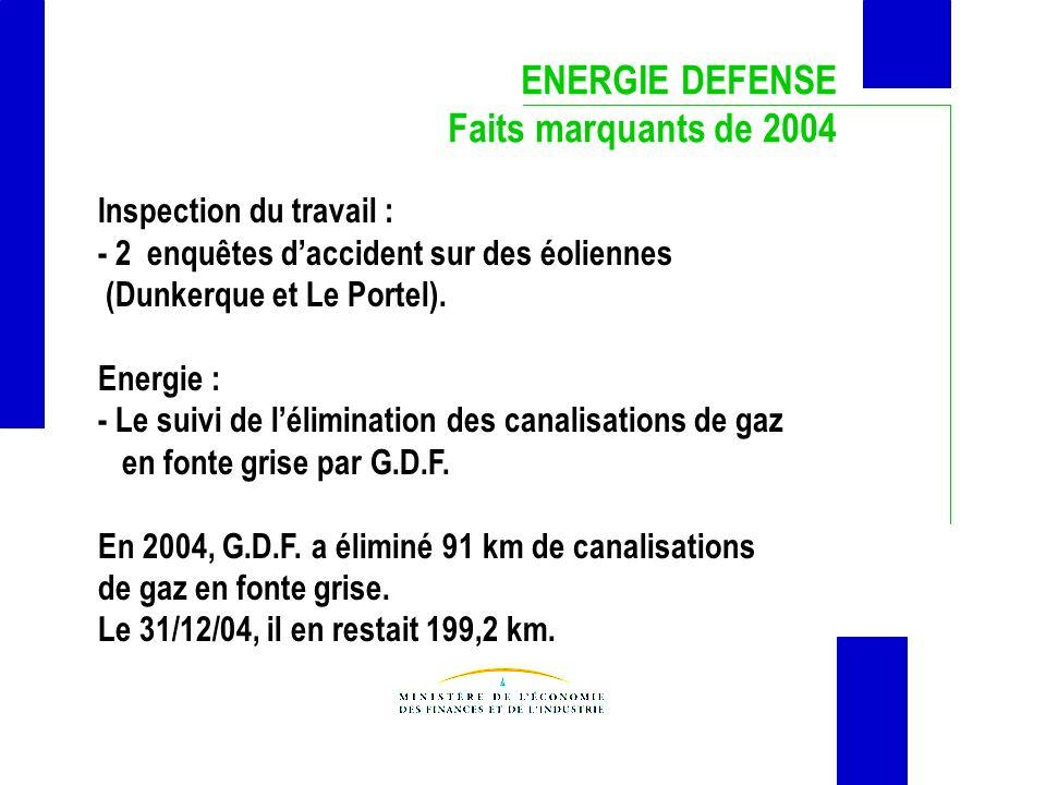 ENERGIE DEFENSE Faits marquants de 2004 Inspection du travail :