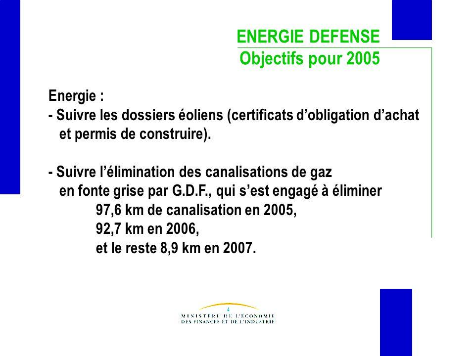 ENERGIE DEFENSE Objectifs pour 2005 Energie :