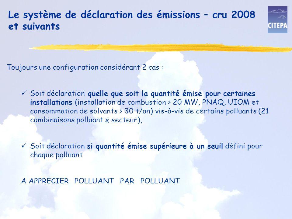 Le système de déclaration des émissions – cru 2008 et suivants