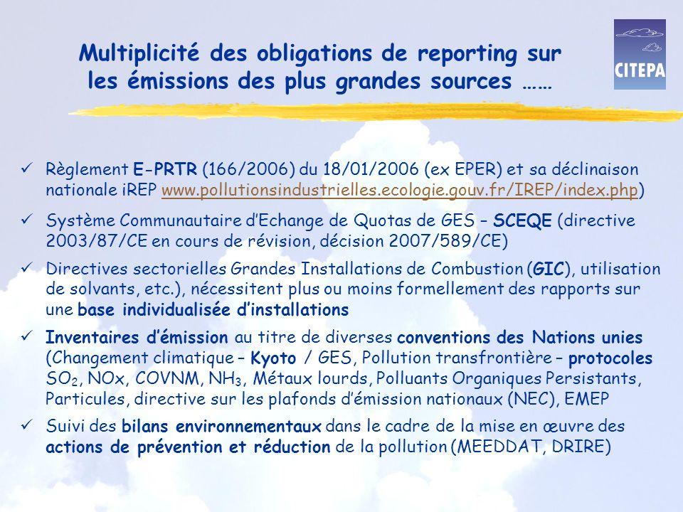 Multiplicité des obligations de reporting sur les émissions des plus grandes sources ……