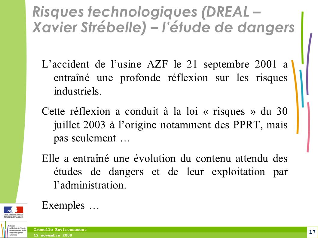 Risques technologiques (DREAL – Xavier Strébelle) – l'étude de dangers
