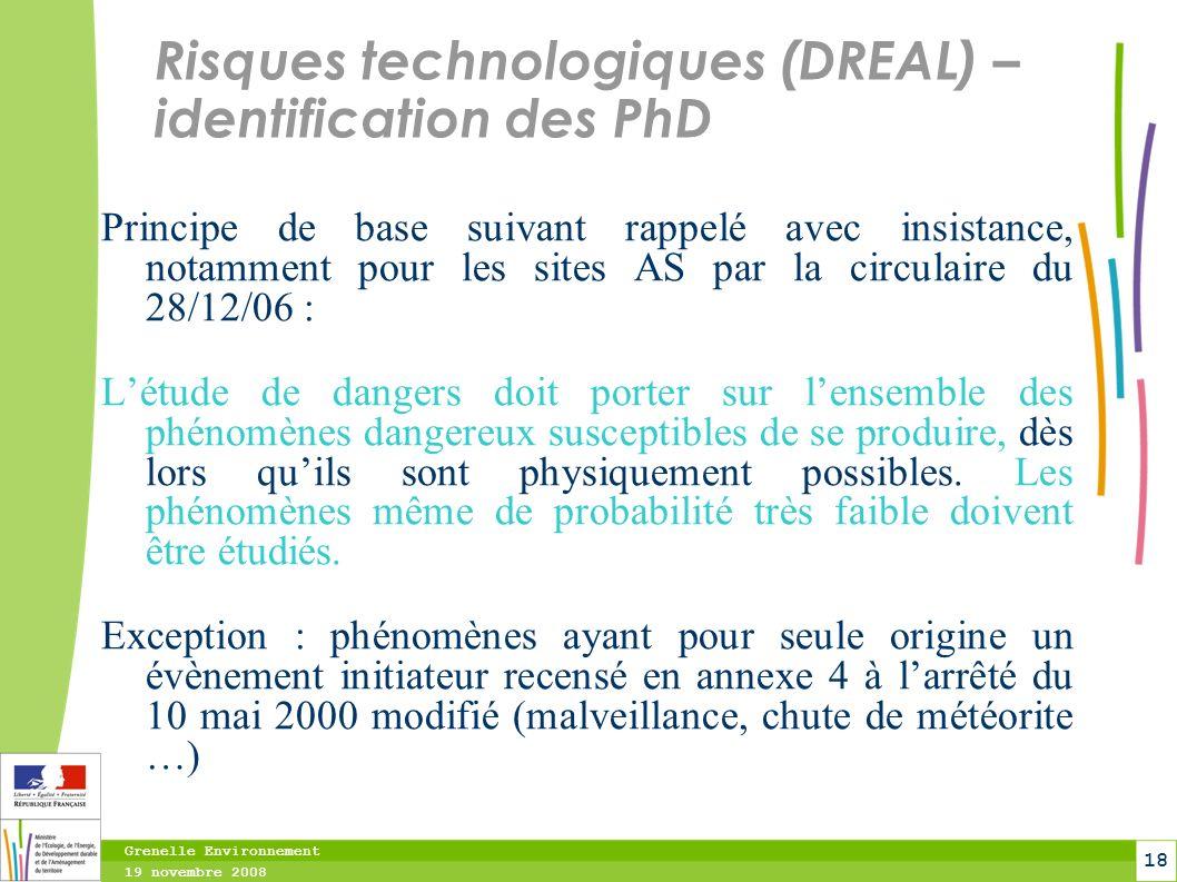 Risques technologiques (DREAL) – identification des PhD