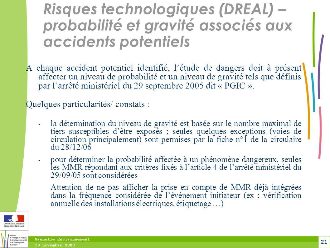 Risques technologiques (DREAL) – probabilité et gravité associés aux accidents potentiels