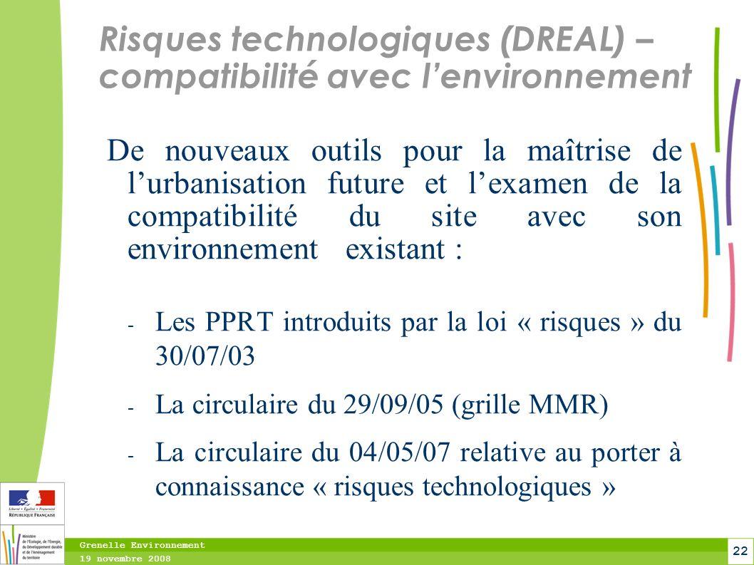 Risques technologiques (DREAL) – compatibilité avec l'environnement