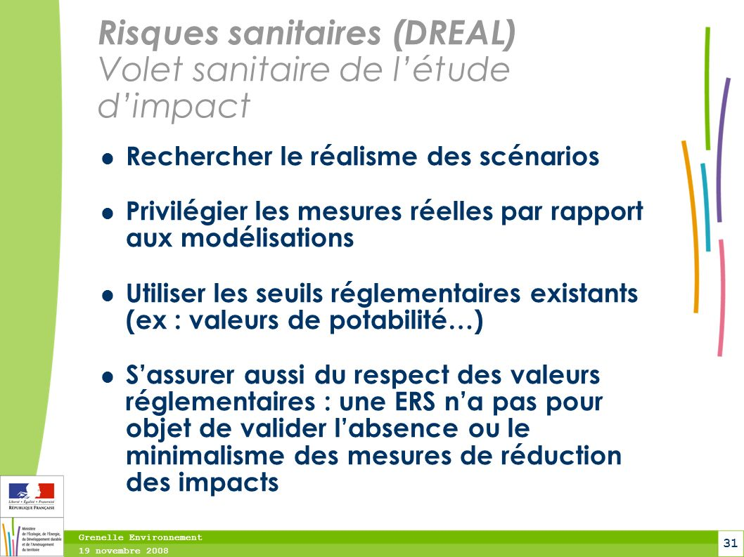Risques sanitaires (DREAL) Volet sanitaire de l'étude d'impact