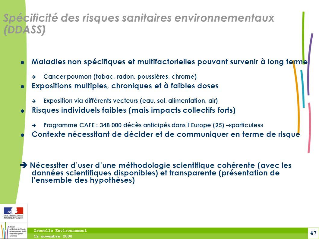 Spécificité des risques sanitaires environnementaux (DDASS)