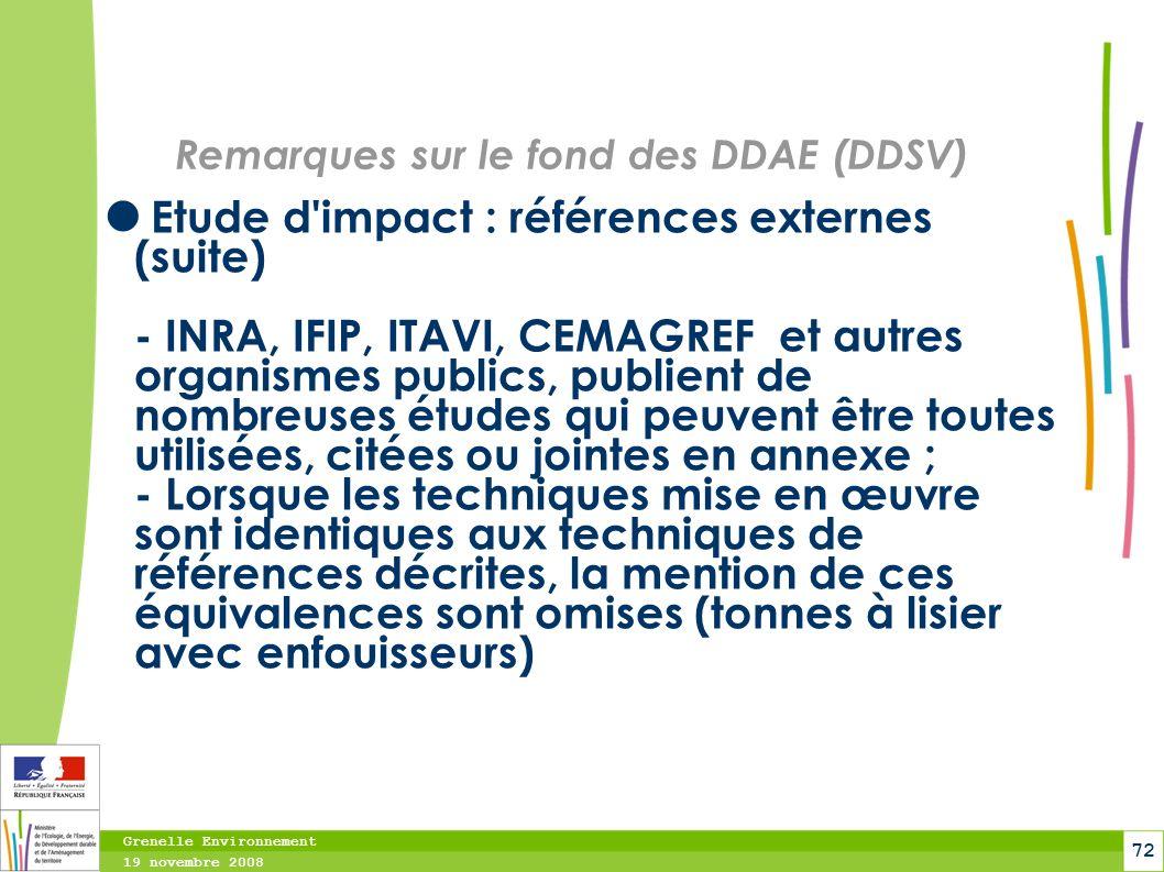 Remarques sur le fond des DDAE (DDSV)