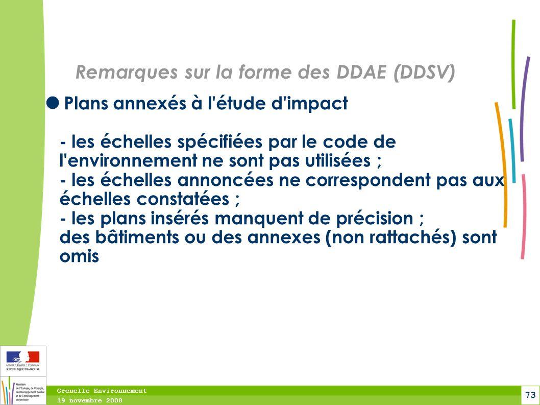 Remarques sur la forme des DDAE (DDSV)