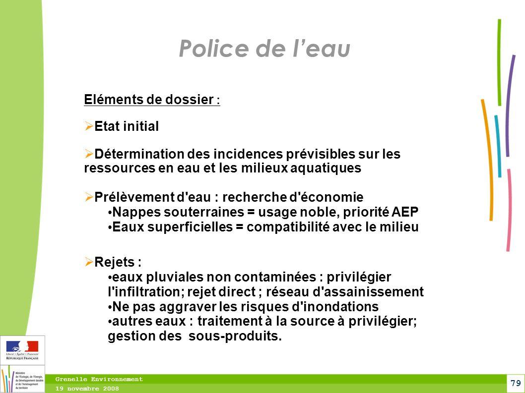 Police de l'eau Eléments de dossier : Etat initial