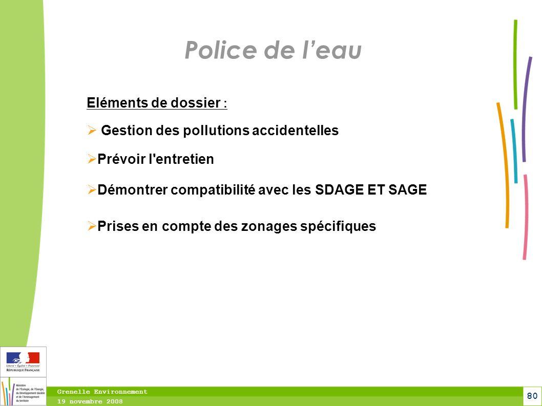 Police de l'eau Eléments de dossier :