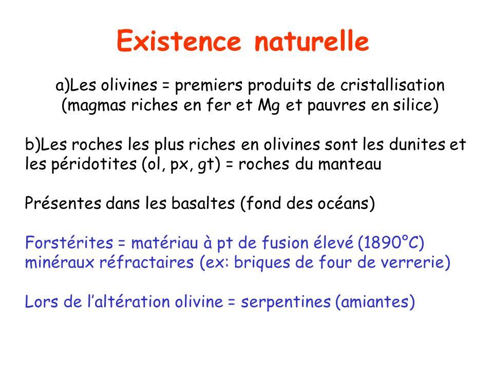 Existence naturelle a)Les olivines = premiers produits de cristallisation (magmas riches en fer et Mg et pauvres en silice)