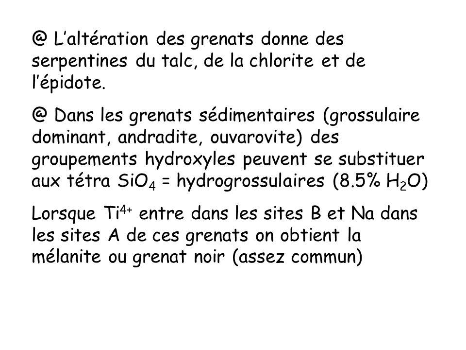 @ L'altération des grenats donne des serpentines du talc, de la chlorite et de l'épidote.