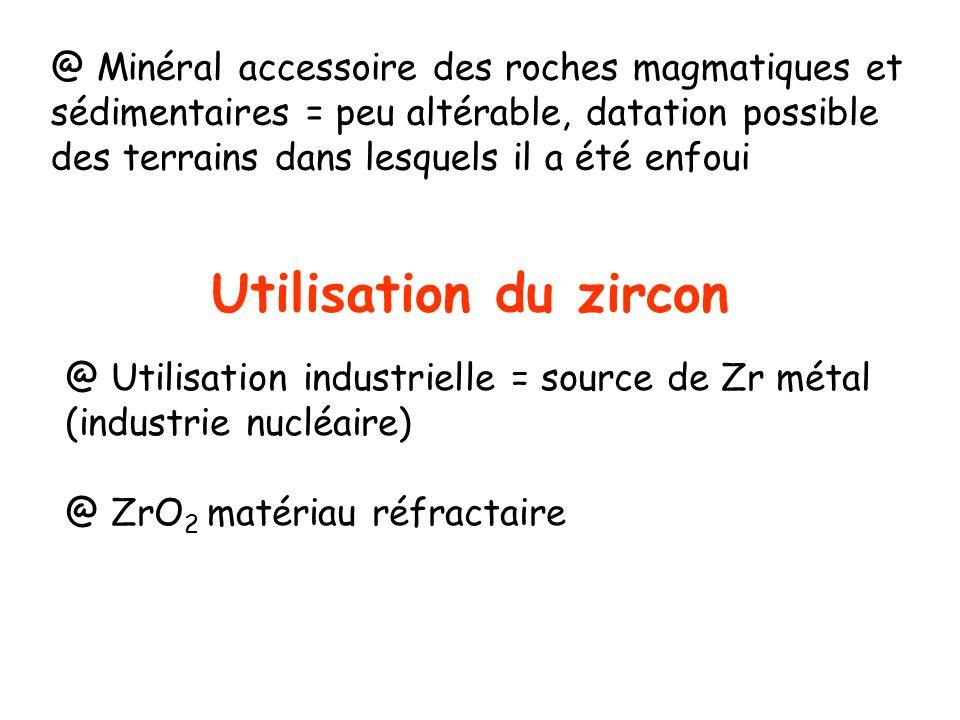 Utilisation du zircon @ Minéral accessoire des roches magmatiques et