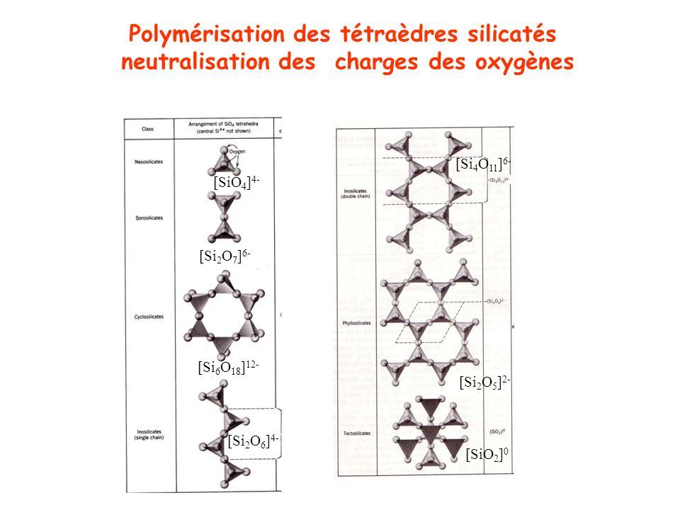 Polymérisation des tétraèdres silicatés
