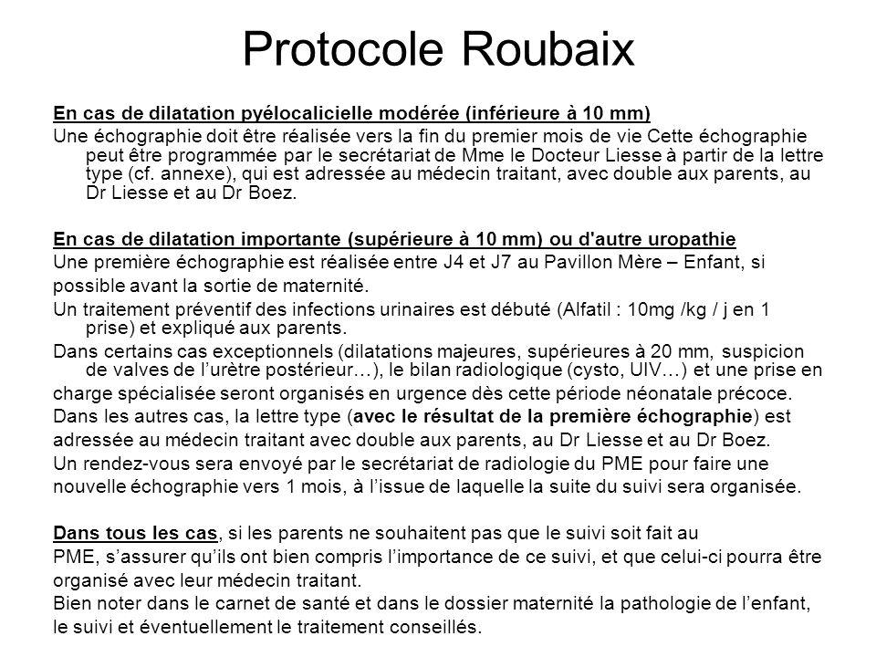 Protocole Roubaix En cas de dilatation pyélocalicielle modérée (inférieure à 10 mm)
