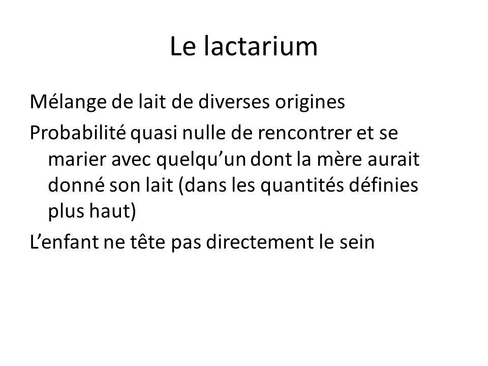 Le lactarium Mélange de lait de diverses origines