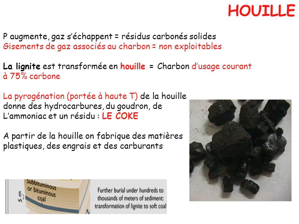 HOUILLE P augmente, gaz s'échappent = résidus carbonés solides