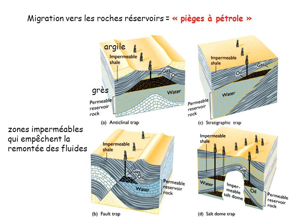 Migration vers les roches réservoirs = « pièges à pétrole »