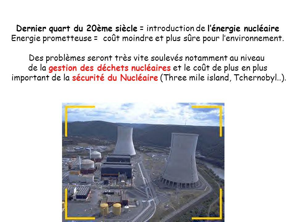 Dernier quart du 20ème siècle = introduction de l'énergie nucléaire