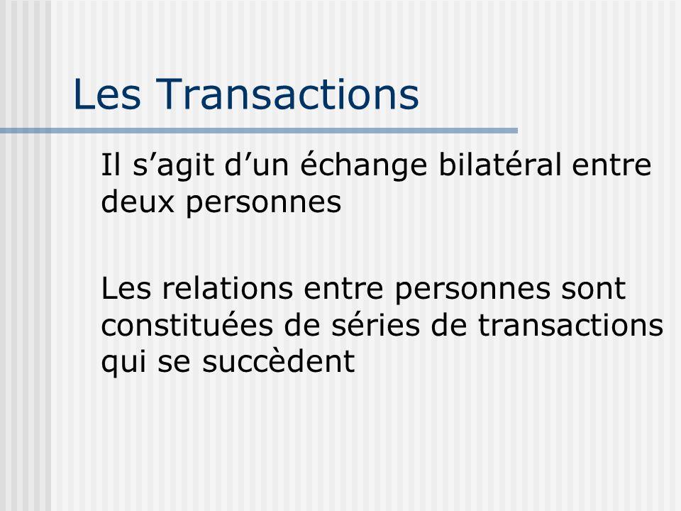 Les Transactions Il s'agit d'un échange bilatéral entre deux personnes