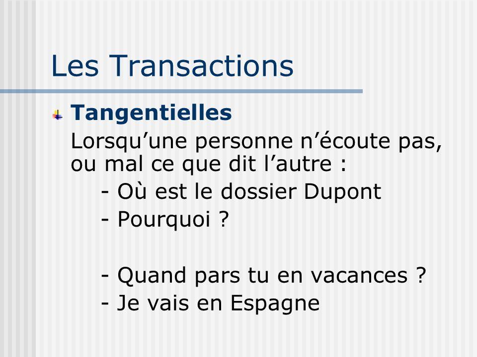 Les Transactions Tangentielles