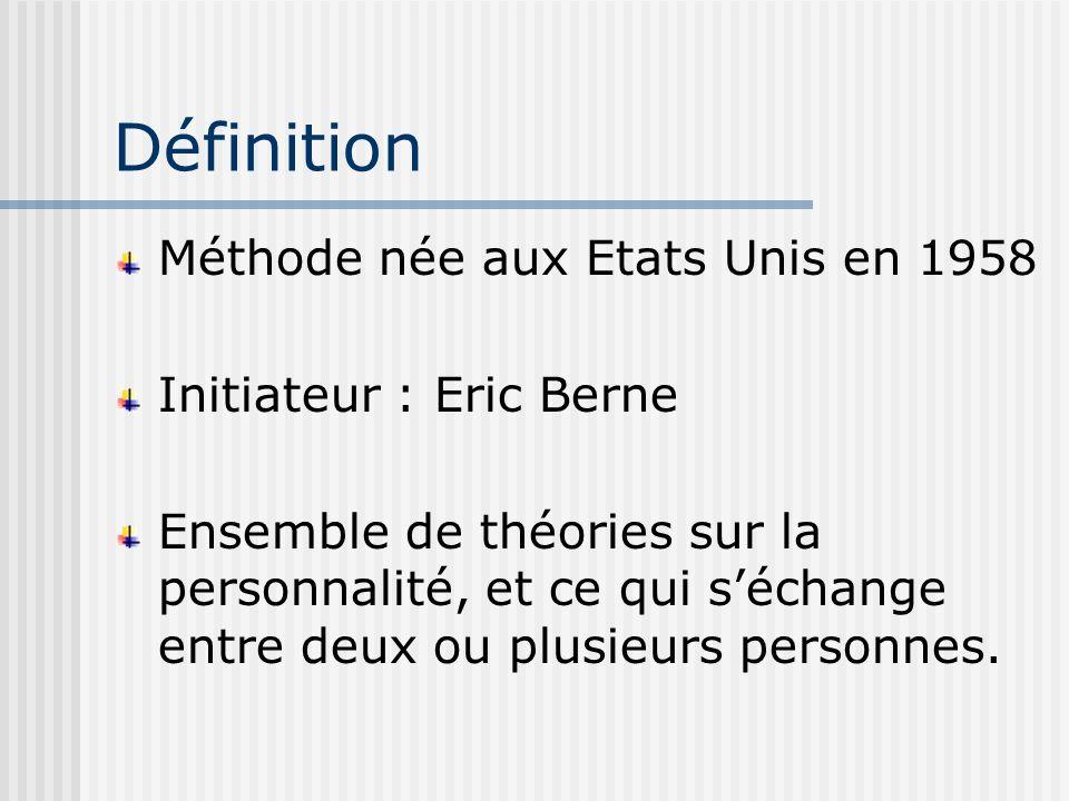Définition Méthode née aux Etats Unis en 1958 Initiateur : Eric Berne