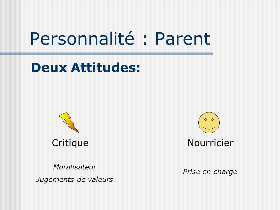 Personnalité : Parent Deux Attitudes: Critique Nourricier Moralisateur