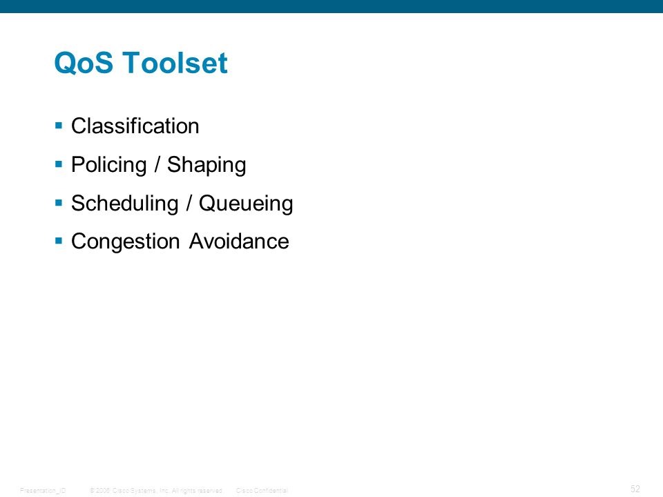 QoS Toolset Classification Policing / Shaping Scheduling / Queueing