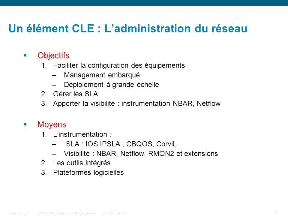 Un élément CLE : L'administration du réseau