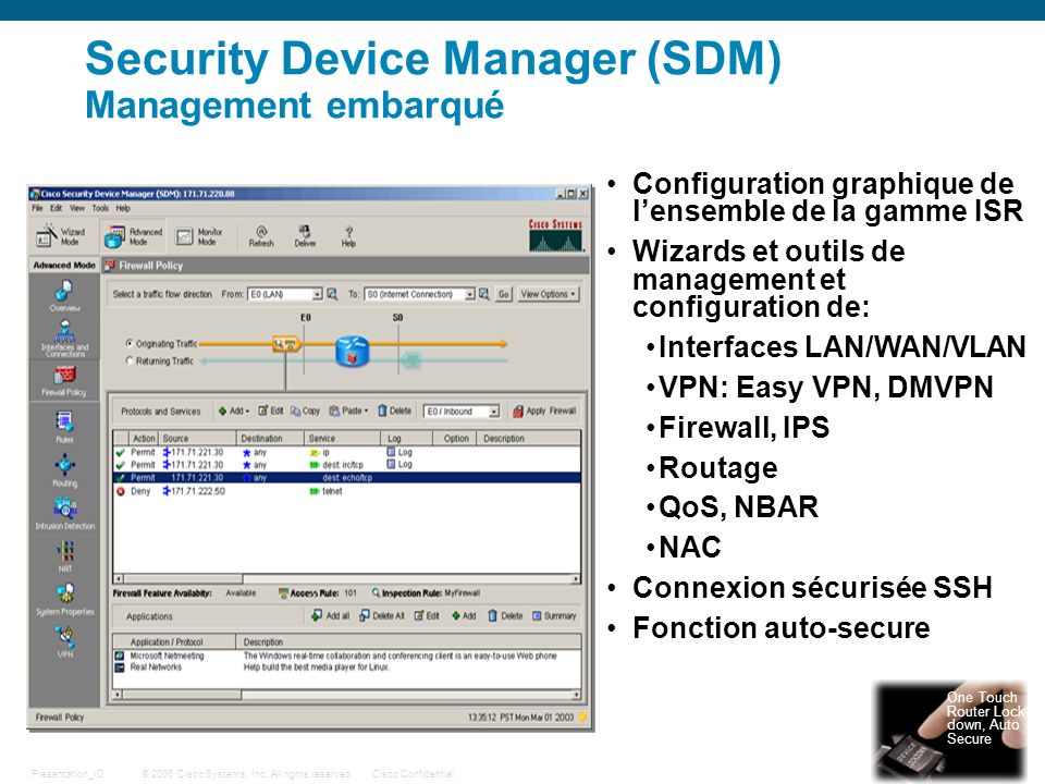 Security Device Manager (SDM) Management embarqué