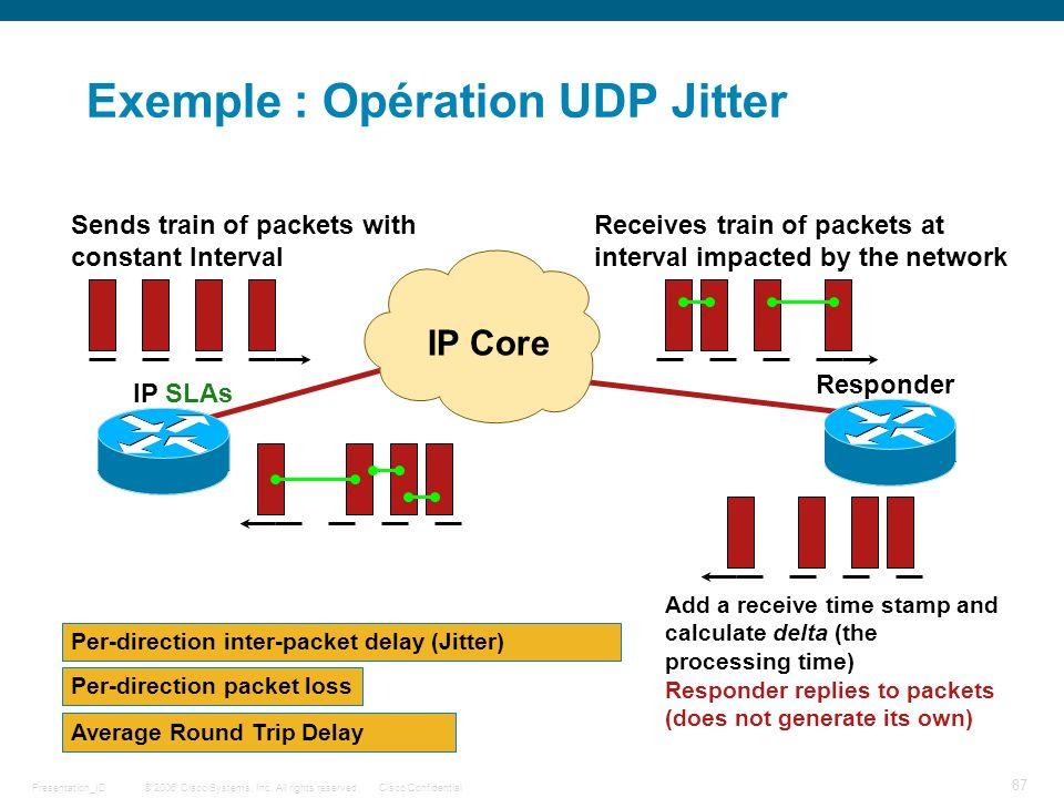 Exemple : Opération UDP Jitter