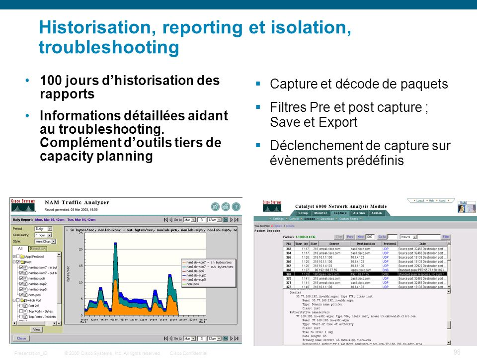 Historisation, reporting et isolation, troubleshooting
