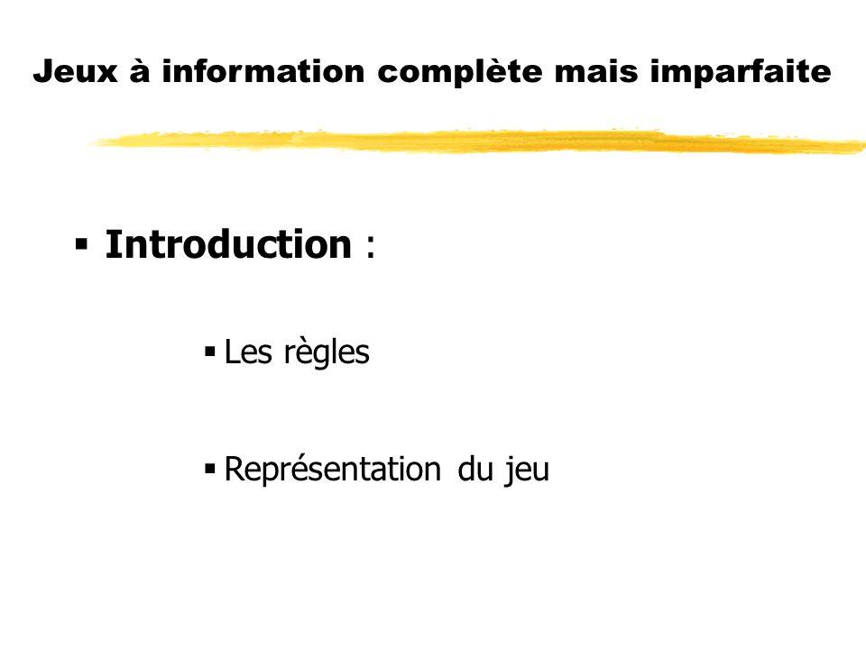 Introduction : Les règles Représentation du jeu