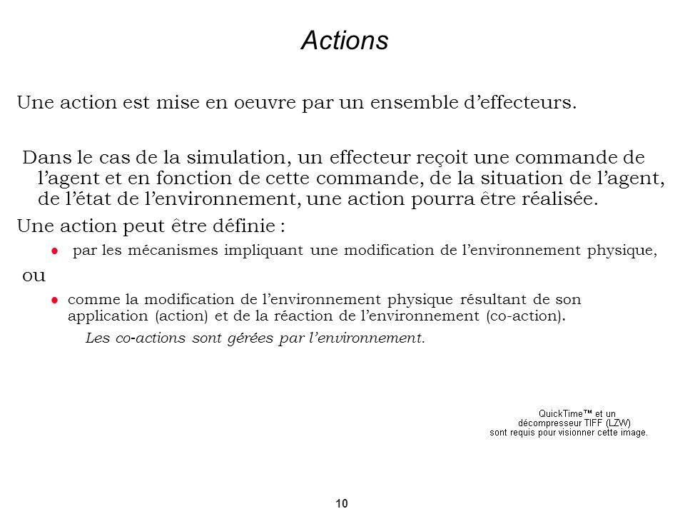 Actions Une action est mise en oeuvre par un ensemble d'effecteurs.