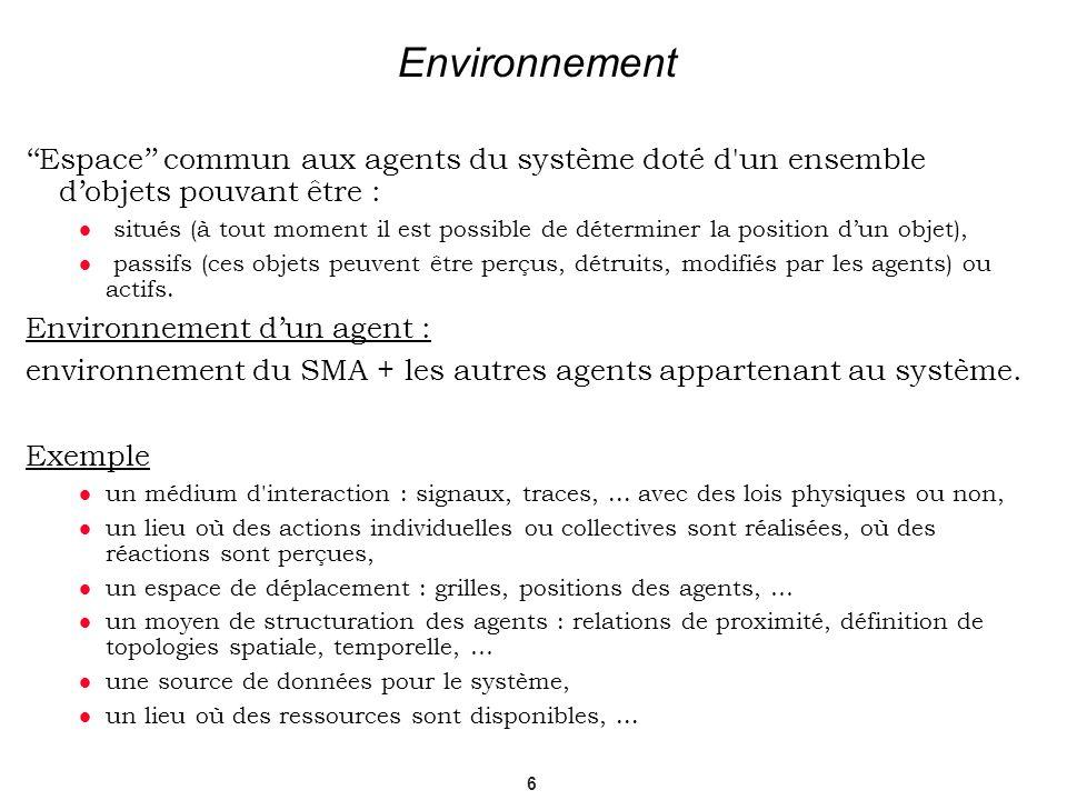 Environnement''Espace'' commun aux agents du système doté d un ensemble d'objets pouvant être :