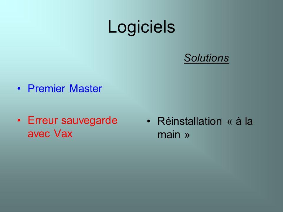 Logiciels Solutions Premier Master Réinstallation « à la main »